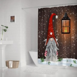 Stylish Set Christmas Folklore Elves Cute Gnome Polyester Fabric Bathroom Curtain