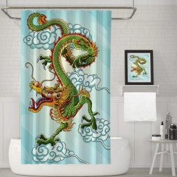 Fabric Shower Curtain Set Chinese Dragon Bathroom Curtains