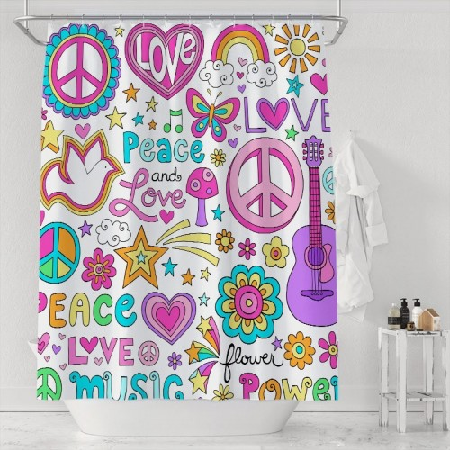 Peace And Love Music Groovy Doodles Bathroom Waterproof Polyester Shower Curtain