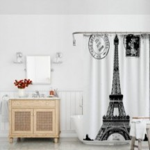 Oil Painting Paris European City Landscape France Tower Home Bathroom Decor Polyester Curtains