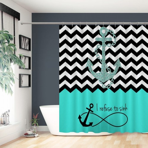 Chevron Infinity Anchor Quotes I refuse to Sink Bathroom Curtains