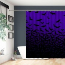 Halloween Bats Black Purple Polyester Shower Curtain