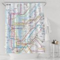 Comprehensive New York Subway Map Bathroom Polyester Curtains