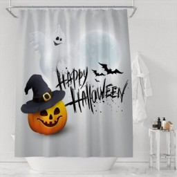 Halloween Shower Curtain Colorful Look Cute GHOST Pumpkin Hat Print Decorative Shower Curtain
