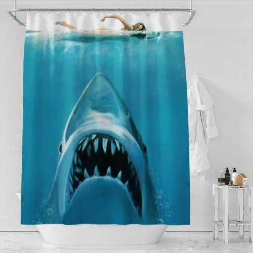 Real Life Shark Poses as Jaws Bathroom Decor Polyester Curtains