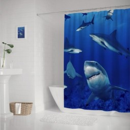 Cool Sharks Decorative Fabric Shower Curtain