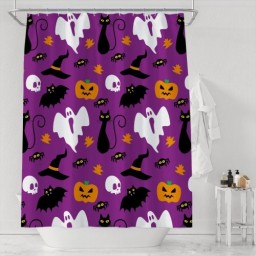 Funny Hallowen Ghost Pumpkin Bats Print Home Decor Shower Curtains