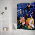 CUSTOM HAPPY HALLOWEEN NIGHT Ghost and Pumpkin WATERPROOF POLYESTER FABRIC SHOWER CURTAIN