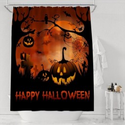 Happy Halloween Night Theme Print Bathroom Shower Curtain