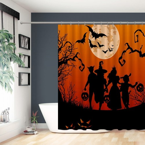 Silhouettes Of Children Trick or Treating In Halloween Costume Bathroom Shower Curtain