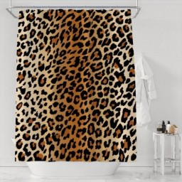 Leopard Print Shower Curtain Skin Pattern of a Wild Safari Animal Bathroom Decor Set with Hooks