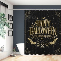 Happy Halloween Print Eat Drink And Be Scary Shower Curtain