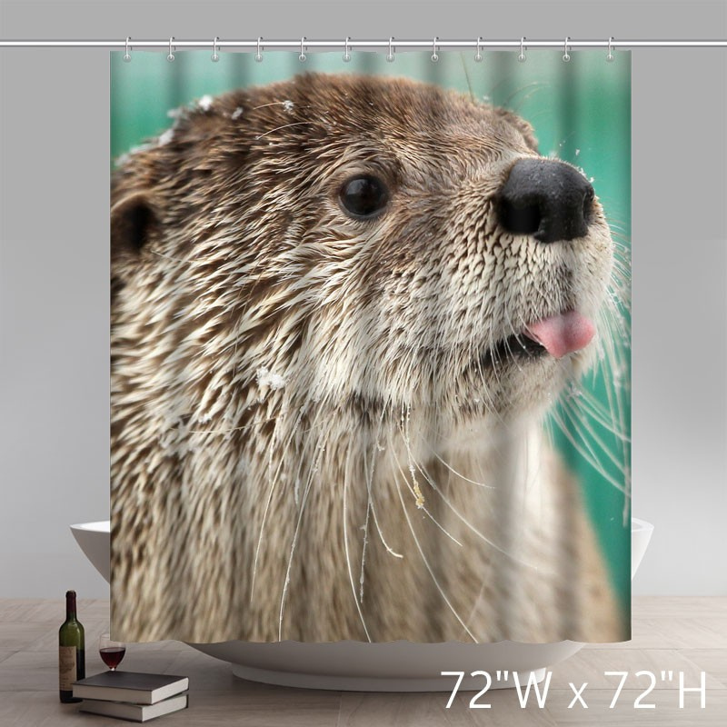 A Cute Otter Funny Polyester Shower Curtain