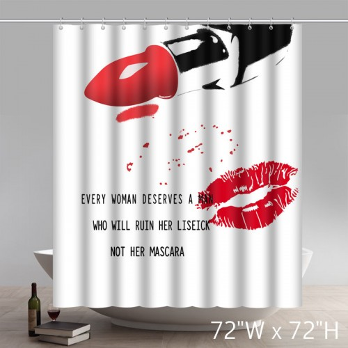 Art Deco Red Lip Bathroom Decorations Print Shower Curtain Polyester Fabric