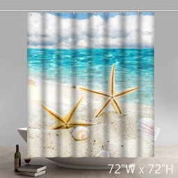 Ocean Decor Collection Starfish Seascape Sea Beach Picture Print Bathroom Set Fabric Shower Curtain