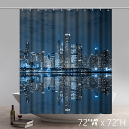 Chicago Illinois Buildings at Dark Night Scene Polyester Fabric Bathroom Shower Curtain