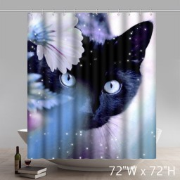 The Beauty of the Black Cat Waterproof Polyester Shower Curtain