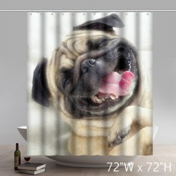 Lovely Happy Pug Dog Belldog Polyester Fabric Bathroom Shower Curtain