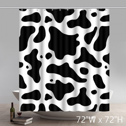 Custom Seamless Texture Of Cow Hide Polyester Fabric Bathroom Shower Curtain