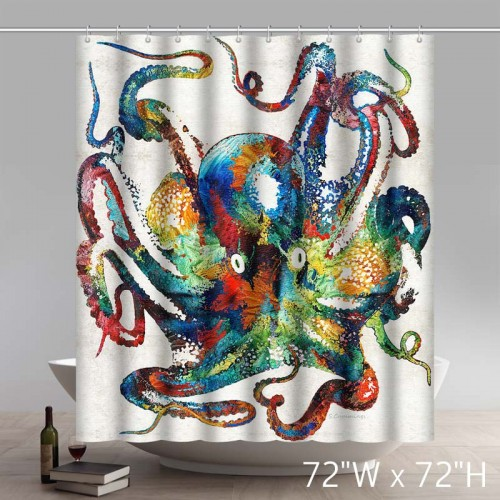 Unique and Generic Retro Colorful Octopus Art Shower Curtain Custom Printed Waterproof Polyester Bath Curtain