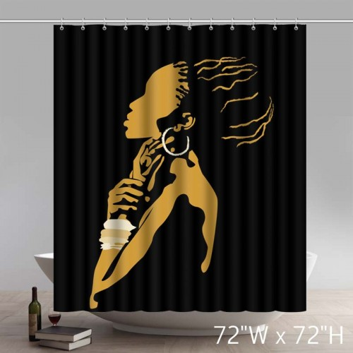 Popular And Cheap Black African Woman Waterproof Bathroom Shower Curtain