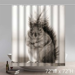 Custom Lovely Squirrel Waterproof Bathroom Shower Curtain