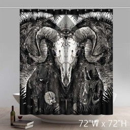 Symbol Satanic Dark Satan Skull Evil Shower Curtain Bathroom