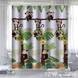 Mainstays Monkey Decorative Bathroom Shower Curtain