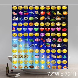 Funny Emojis 100% Polyester Waterproof Shower curtain