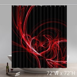 Liberty Art Abstract Red Circles Lines Black Background Wallpaper Shower Curtain