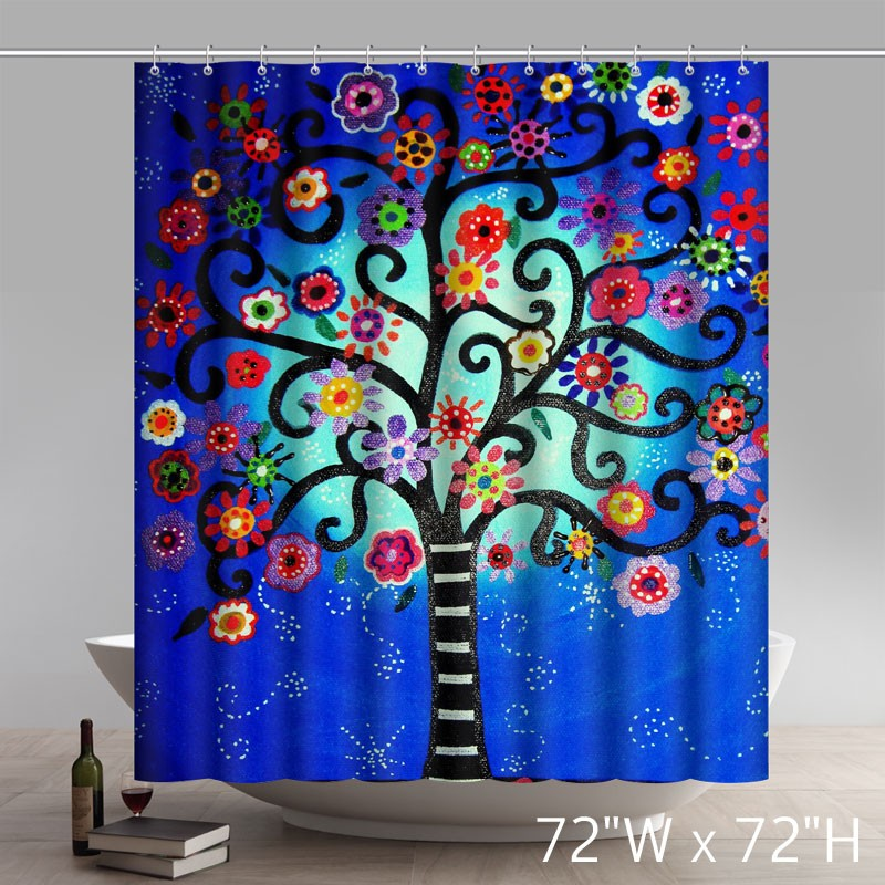 Liberty Art Mexican Style Flower Tree Polyester Shower Curtain Waterproof Material Bath