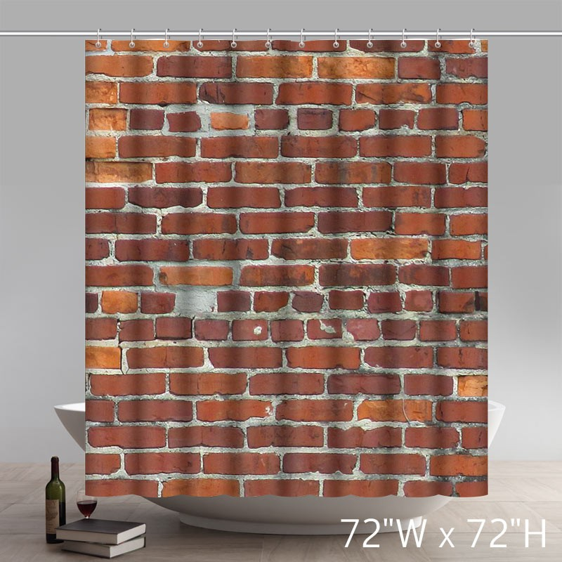 Brick Wall Pattern Stone And Rock Art Polyester Fabric Custom Home Decor Shower Curtain