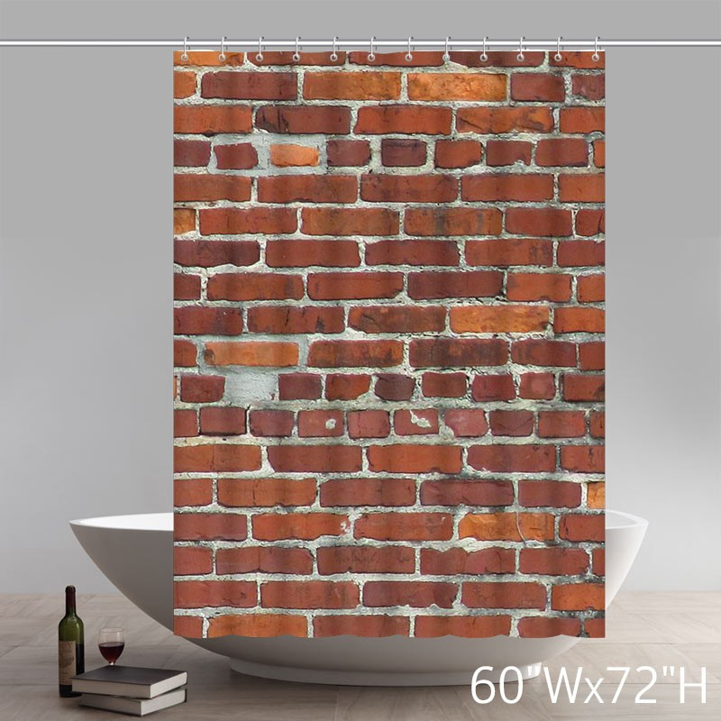 Brick Wall Pattern Stone And Rock Wall Art Polyester Fabric Custom Home Decor Shower Curtain Star Unique Shower Curtains