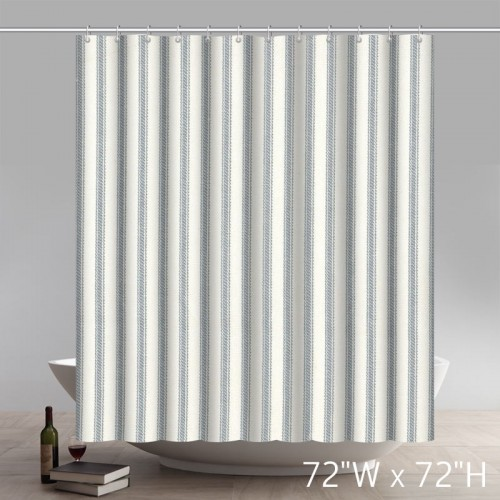 Geometric French Country Dove Gray Ticking Stripe Cotton Shower Curtain