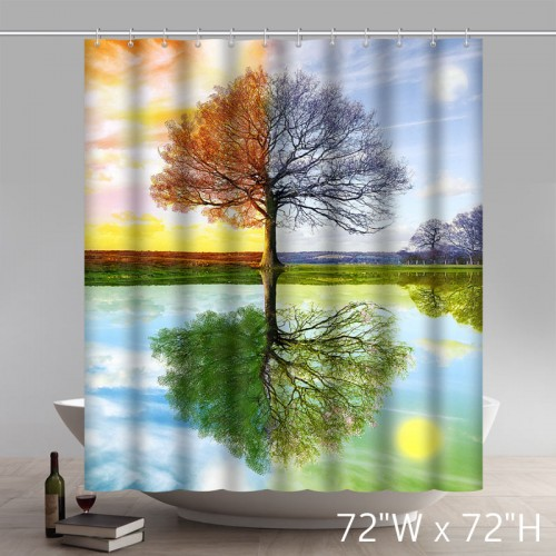 Funny Print Four Seasons Spring Summer Autumn Winter Colorful Tree 100% polyester shower curtain