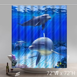 Seaside & Sunset Bathroom Shower Curtain Underwater World Dolphin Fish Art Ocean Animal Print Design