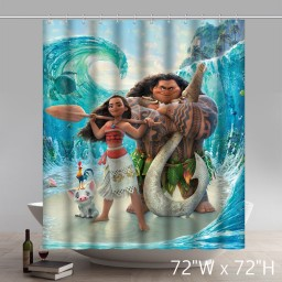 Movie Character Moana Movie Waterproof Anti Mildew Polyester Fabric Bathroom Shower Curtains