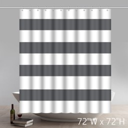 Geometric 100% Cotton Shower Curtain Wide Stripes Fabric Shower Curtain White Taupe Grey Gray Silver