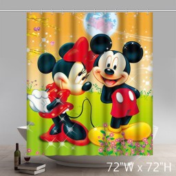 Cute Disneycartoon Mickey & Minnie Mouse Pattern Shower Curtain