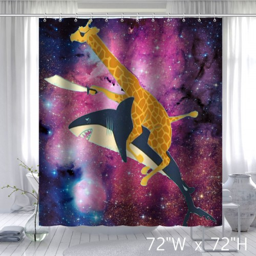 Beautiful Misunderstanding Space Nebula Universe Retro Galaxy Giraffe Riding Shark Never Stop Dreaming Shower Curtain