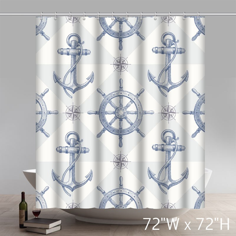 Cartoon Sailing Ship Design Shading Curtain Blackout: Custom Nautical Anchor Sailing Ships Wheel Compass Patter