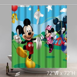 Custom Cartoon Mickey Mouse Pattern Waterproof Bathroom Shower Curtain