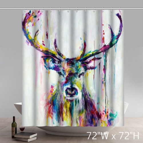 Liberty Art Painting Deer Bath Home Decor of Waterproof Bathroom Polyester Fabric Shower Curtains