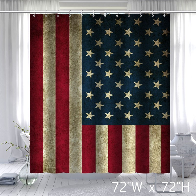 Vintage USA Flag Fabric Custom Bathroom Shower Curtain ...