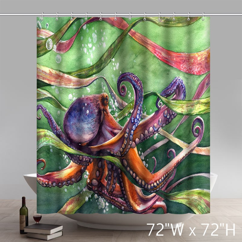 Personalized Custom Liberty Art Painting Octopus Waterproof Shower Curtains