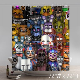 Movie Character Fnaf Animatronics Home Curtains Cool Pictures for Bathroom Decorations Shower Curtain