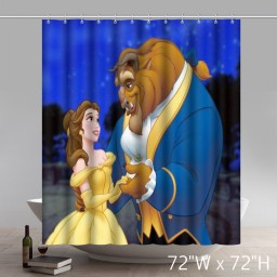 Disneycartoon Beauty and the beast Waterproof Fabric Shower Curtain