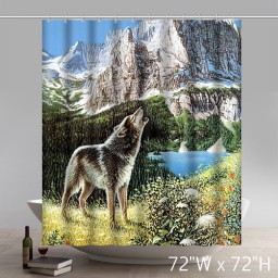 Places of Interest Design Howling Wolf Waterproof Bathroom Fabric Shower Curtain