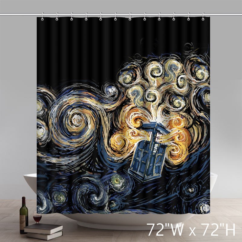 Liberty Art Custom Doctor Who Series Pattern Waterproof Fabric Bath Shower Curtains