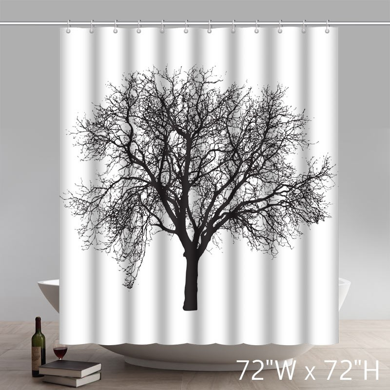 Geometric Tree Design Peva Curtain For Bathroom Waterproof Odorless Shower Curtains
